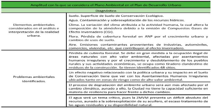 Amplitud con la que se considera el plano ambiental en los instrumentos procedimentales con los que se regula el desarrollo urbano de la Ciudad de México