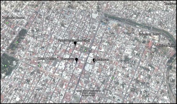 Tepic: localización de los sitios de aplicación del cuestionario (Presidencia Municipal, Veracruz y Zacatecas)